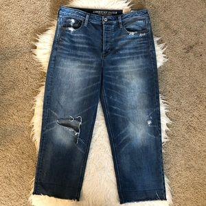 NWOT AE vintage hi rise straight jeans distressed